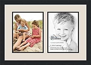 ArtToFrames Collage Photo Frame Double Mat with 2 - 8.5x11 Openings and Satin Black Frame