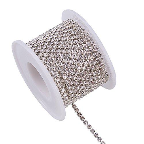 Benecreat 9.14m di cristallo del rhinestone chiudere la catena chiara di taglio artiglio catena artigianale circa 1440pcs strass, 2.6mm - rosso (fondo argento)