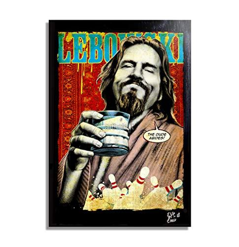 The Dude (Jeff Bridges) aus Film The Big Lebowski - Original Gerahmt Fine Art Malerei, Pop-Art, Poster, Leinwand, Artwork, Film Plakat, Leinwanddruck