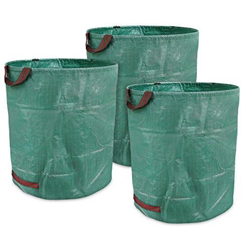 ENERGUP 3 Stück 272L Gartensack Zusammenklappbar Gartenabfallsack aus robustem Polypropylen-Gewebe (PP)