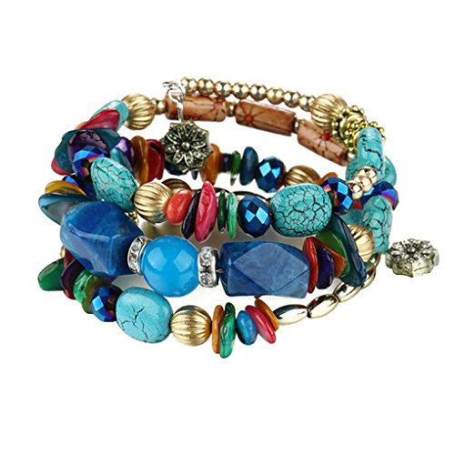 Zerama Frauen-Mädchen-Multi Schichten Twisted-Türkis-Armband-Armband-Legierung Mode-Armband-Ketten-Stulpe-Schmucksachen -