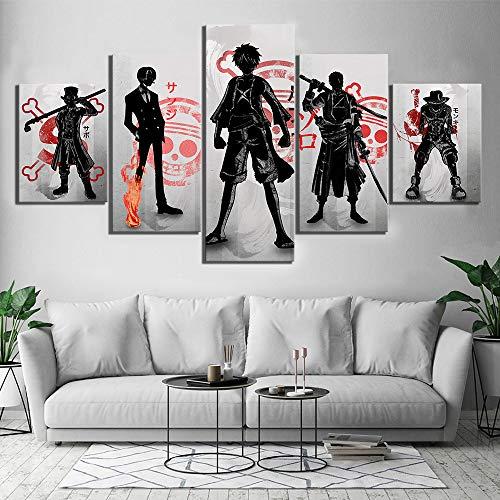 5 Stücke One Piece D. Ruffy Leinwand HD-Drucke Bilder Wandkunst Gemälde Anime Poster Wohnzimmer Wohnkultur,B,30×50×2+30×70×2+30×80×1