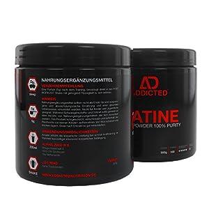 Creapure™ CREATINE Monohydrat Pulver von ADDICTED® • Kreatinmonohydrat - für ein härteres Training - schnell Muskeln aufbauen • Kreatin / Creatin zum Muskelaufbau durch ATP | Adenosintriphosphat from ADDICTED Nutrition
