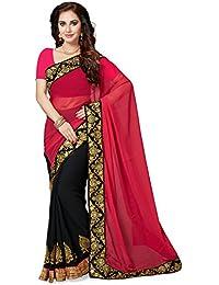 Ishin Georgette Black & Pink Party Wear Wedding Wear Casual Daily Wear Festive Wear Bollywood New Collection Embellished...