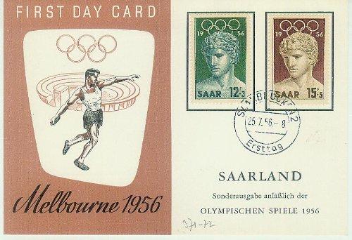 First Day Card - Sonderausgabe anläßlich der Olympischen Spiele 1956 - 12+3/15+5F [2 Briefmarken, gestempelt, Ersttagsbrief] -