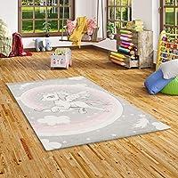 Pergamon Maui Kids - Children Carpet - Unicorn - Pastel Grey Light Pink - 5 Sizes