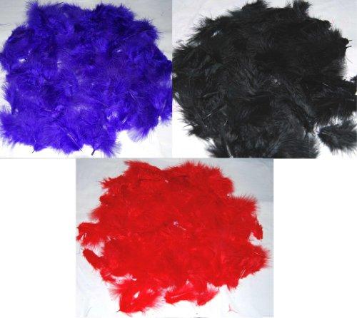 Marabou-Federn zum Basteln (insgesamt 360 Federn zum Basteln), Schwarz / Rot / Violett, jeweils eine - Halloween Crafts Brownie