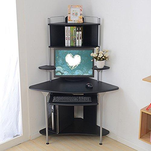 Tische Zr- Desktop Computertisch Dreieckstisch Ecke Home-Desk Bücherregal Mehrschichtiges Eckregal Computerstation Ecktisch (Farbe : Schwarz) (3 Bücherregal Stück)