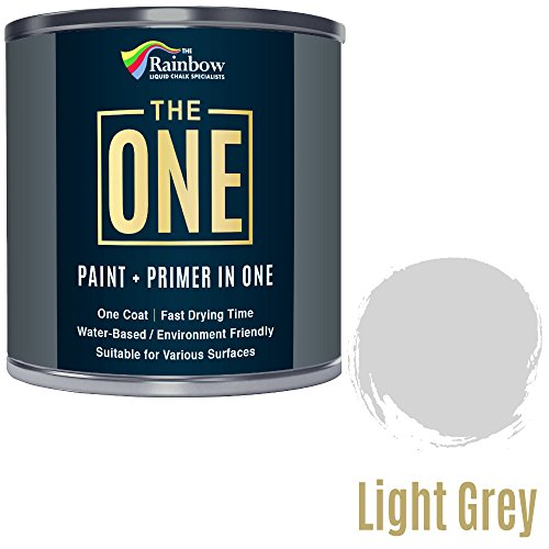 Una pintura, una capa, pintura multisuperficie para madera, metal, plástico, interior, exterior, gris claro, mate, 250 ml.