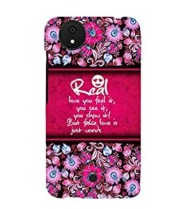 Real Love Is Feel 3D Hard Polycarbonate Designer Back Case Cover for Micromax Android A1 :: Micromax Canvas A1 AQ4502