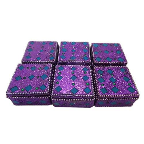 scatola della pillola artigianale set di 6 pezzi in MDF materiale lac custodia viola forma quadrata di monili decorativi voce regalo di nozze molto