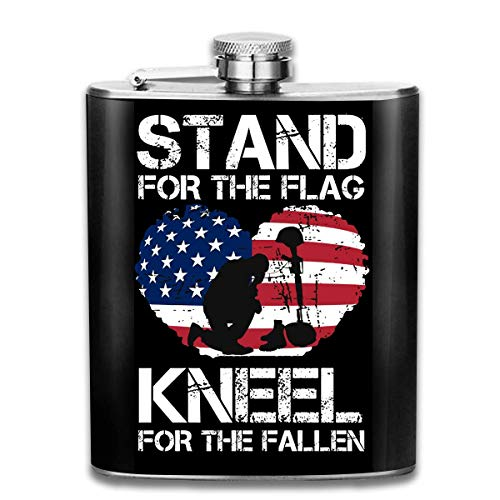 Stand The Flag Kneel for The Fallen Stainless Steel Flask Wearproof 7OZ Hip Flask Pocket Flagon Whiskey Wine Flagon Mug - Fallen Flags