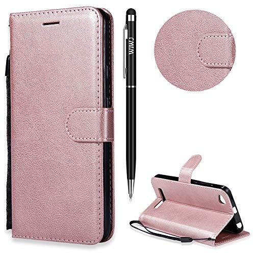 Xiaomi Redmi 4A Hülle,Xiaomi Redmi 4A Handyhülle Leder,WIWJ Wallet Case[Einfarbige Ledertasche mit Lanyard] Flip Schutzhüllen für Xiaomi Redmi 4A-Roségold