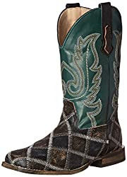 Roper Patches Square Toe Cowboy Boot (Toddler/Little Kid), Brown/Black/Green, 1 M US Little Kid