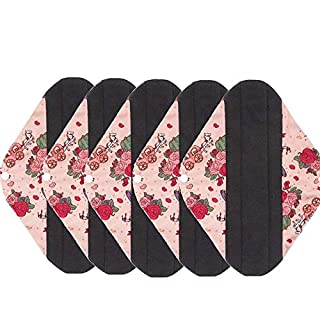 AIYoo Bamboo Charcoal Reusable Sanitary Pads X 5 with Heavy Flow Absorbency Layer Large Size Menstrual Pads for Overnight Washable Cloth Menstrual Napkins Avoid Leaks Odors and Staining