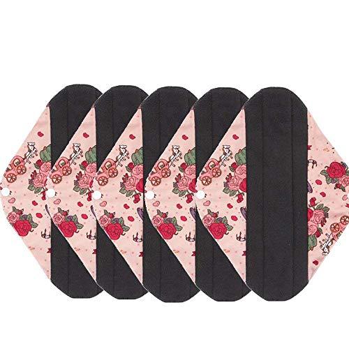 5 Wiederverwendbare waschbare Holzkohle-Bambustuch Menstruation-Pads Slipeinlage -