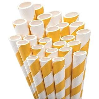 Aardvark Papier Trinkhalme Jumbo Brillanz 7.75-inch 50kg Hellen Gelb und Weiß gestreift