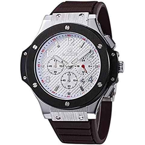 downj Cronografo Quadrante Bianco Argento, display analogico al quarzo cinturino in gomma marrone da uomo orologio