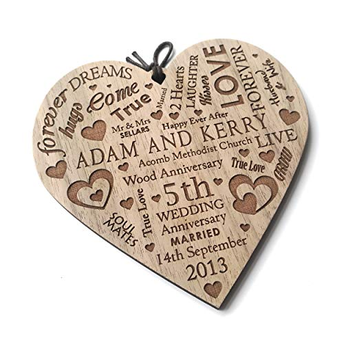 LoveThis** Wedding Anniversary Plaque Personalised Gift Marriage Anniversary Heart Present ~ Wooden Plaque