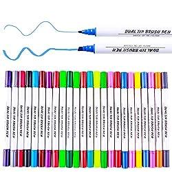 Pinselstift Set, 24 Farben Dual Tp Marker Stifte Textmarker mit 1 mm und 6 mm Linienbreite perfekt für Malen, Schreiben undSkizze, Zeichnungen, Scrabbooking