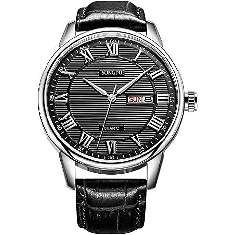 songdu Uomo Casual orologio al quarzo orologio da polso con quadrante nero e cinturino in pelle dm-3002-p01ey