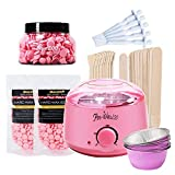 FOONEE Wax Warmer Hair Removal Waxing Kit, Temperatureinstellung Elektrische Wachsheizung Topf Mit Hartwachs Bohnen, 20 Stücke Wachs Applikator Sticks Für Gesicht, Körper, Bikini, Beine