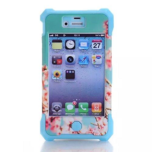 [iPhone 4S] Lantier Sourire 3in1 Heavy Duty hybride TUFF impact antichoc Case Silicone Gel de couverture Hard - Cherry Blossom pour iPhone 4S 4G avec protecteur d'écran et stylet rose Cherry Blossom Blue