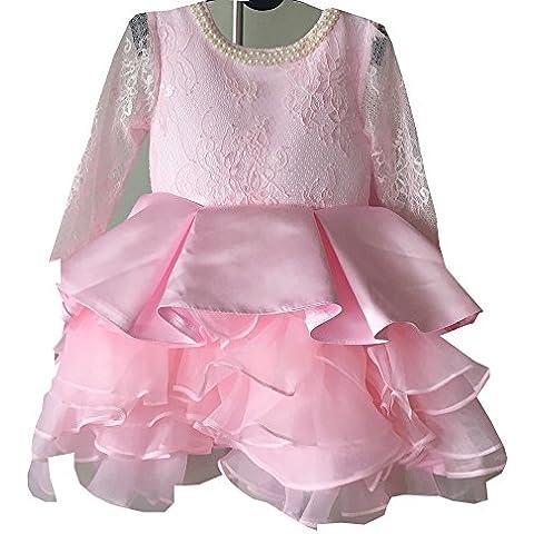 Bambina principessa rosa fiore pizzo increspato Layered Gonna