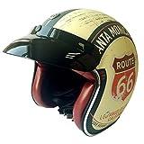 zyy Helm Explosion Klassisch Motorrad Helm Retro Prinz Männer und Frauen Sommer Helme Elektrisch Fahrzeug Sicherheit (Farbe : Gelb, größe : L)