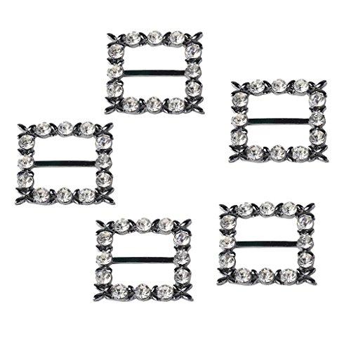 Baoblaze 5 Stück Schwarz Band Schnallen Schieber Diamant Rhinestoneband für Hochzeit Braut (Diamant-hochzeit-band-schwarz)