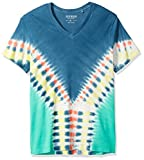 GUESS Men's Short Sleeve Basic Trip Tie Dye V Neck T-Shirt, Reef Blue/Multi, M