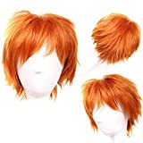 Cosplay Wigs Short Anime Costume Party Full Wigs Orange Fashion Straight Synthetic Hair for Women Men