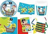 JT-Lizenzen Piraten Schatzsuche 46-teiliges Kindergeburtstag Party Deko Set Standard Motto Fete Feier 8 Teller, 8 Becher, 20 Servietten, Tischdecke, 6 Einladungskarten, 3 Rollen Luftschlangen