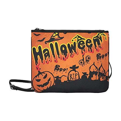 WYYWCY Happy Halloween Scary Creepy Halloween Pack Benutzerdefinierte hochwertige Nylon Slim Clutch Crossbody Tasche Umhängetasche
