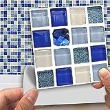 DXHH 18 STÜCKE Blaue Kristallglasmosaikart Style Fliesen Aufkleber Dekorative Aufkleber Kreative Rutschfeste Selbstklebende Wandtattoos Floor Sticke