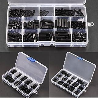 260Pcs M3 Black Nylon Spacers Hex Cap Nut Phillips Screw Stand-off M-F Assortment Kit Plastic Box Set