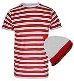 Para hombre palo de golf para niños a rayas rojas y blancas donde WALLY copas de con diseño de estampado de T-camiseta de manga corta disfraz de gorro de punto con T-Shirt+Hat