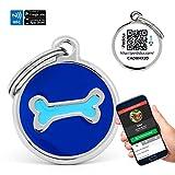 Chapa Placa Identificativa para Perros Hueso 2 colores con tecnología NFC Contactless y QR...