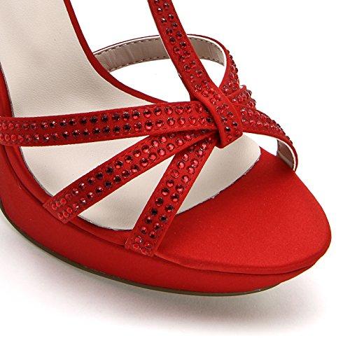 ALESYA by Scarpe&Scarpe - Sandalen mit Absatz, T-Bar und Strasssteinen, mit Absätzen 10 cm Rot