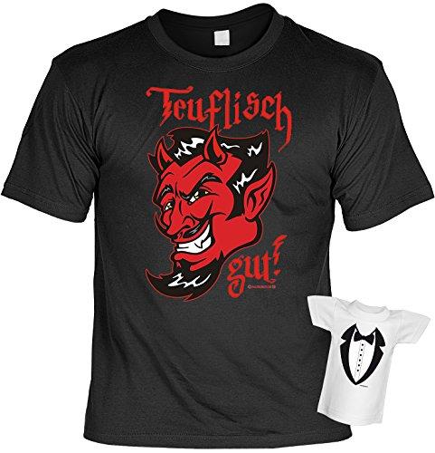 Lustiges Sprüche Fun T-Shirt mit MiniShirt - Teuflisch gut - für Damen Herren Farbe schwarz Schwarz