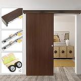 PrimeMatik - Binario per porta scorrevole con copertura in legno MDF di colore quercia di 2m