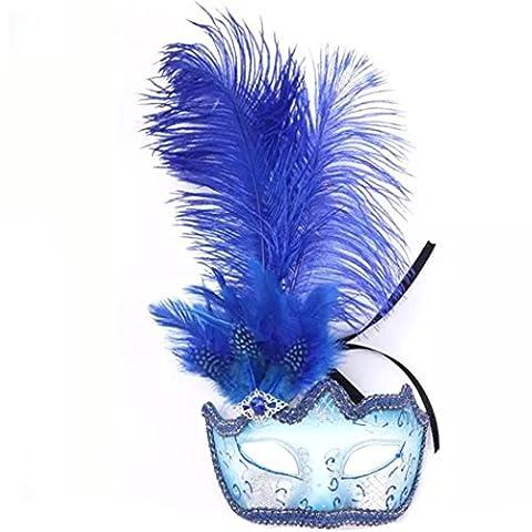 Feder Maske für Maskerade Halloween Party Ball Karneval Kostüm blau (Coole Purge Kostüme)