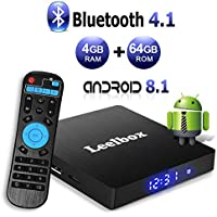 Android 8.1 TV Box, Android Box 4 GB RAM 64 GB ROM, Leelbox Q4 MAX RK3328 Quad Core 64 bit Smart TV Box, Wi-Fi integrato, BT 4.1, Box TV UHD 4K TV, USB 3.0 (4+64G)
