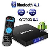 Android 8.1 TV Box - Leelbox Smart TV Box Q4 MAX 4 GB RAM & 64 GB ROM, Quad Core 64 bit Android Box Wi-Fi integrato/BT 4.1/ Box TV UHD 4K TV/USB 3.0 Media Player, Android Set-top-Box