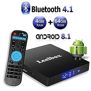 Android 8.1 TV BOX, Android Box 4 GB RAM 64 GB ROM, Leelbox Q4 max RK3328 Quad Core 64 bit Smart TV BOX, Wi-Fi integrato, BT 4.1, Box TV UHD 4K TV, USB 3.0