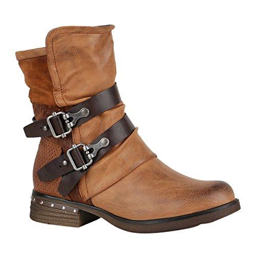Leicht Gefütterte Damen Schuhe Stiefel Biker Boots Schnallen Stiefeletten 150240 Hellbraun Agueda Nieten 37 Flandell