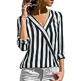 Innerternet Damen Shirt, Elegant Frauen V-Ausschnitt Chiffon Langarmhemd Solide T-Shirt Büro Damen Plain Kurzarm Bluse Top 2019 Sommer Hemd Tshirt Lose