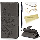 Mavis's Diary Samsung A5 Case ,Samsung Galaxy A5 Case (2017 Model) - PU Leather Wallet Flip Cover Classy Butterfly Flowers Embossed Design Magnetic Closure Card Holders Case with Hand Strap & Butterfly Dust Plug & Stylus Pen - Grey
