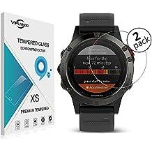 VIFLYKOO Garmin Fenix 5 Protector de Pantalla [2-Pack] Garmin Fenix 5 Cristal Vidrio Templado Protector 9H Tempered Glass Screen Protector para Garmin Fenix 5 Smartwatch
