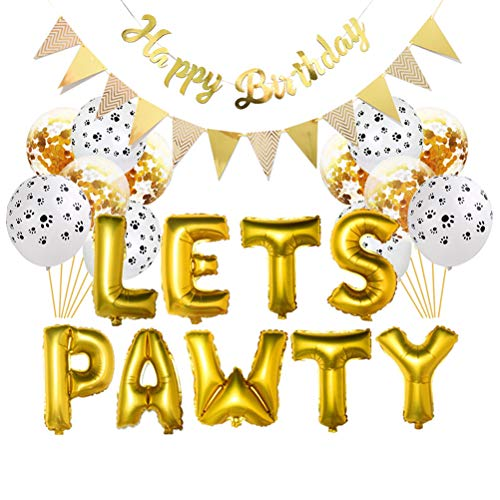 irthday Party Supplies, Haustier Geburtstag Dekorationen Ballon Set Haustier Party Latex Luftballons und Pailletten Ballon Dekorationen (Golden) ()